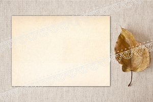 Mockup. Leaf. Canvas. 5 х 7