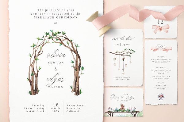 Peach Forest Wedding Invitations