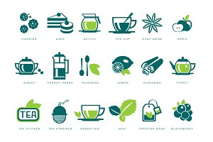 Tea party, tea icons