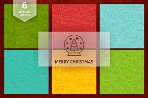 Christmas Line Seamless Patterns