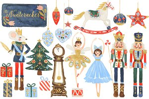 Watercolor Nutcracker Clipart Set
