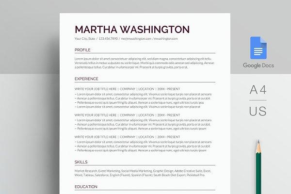 Google Docs Resume Template Creative Resume Templates Creative Market