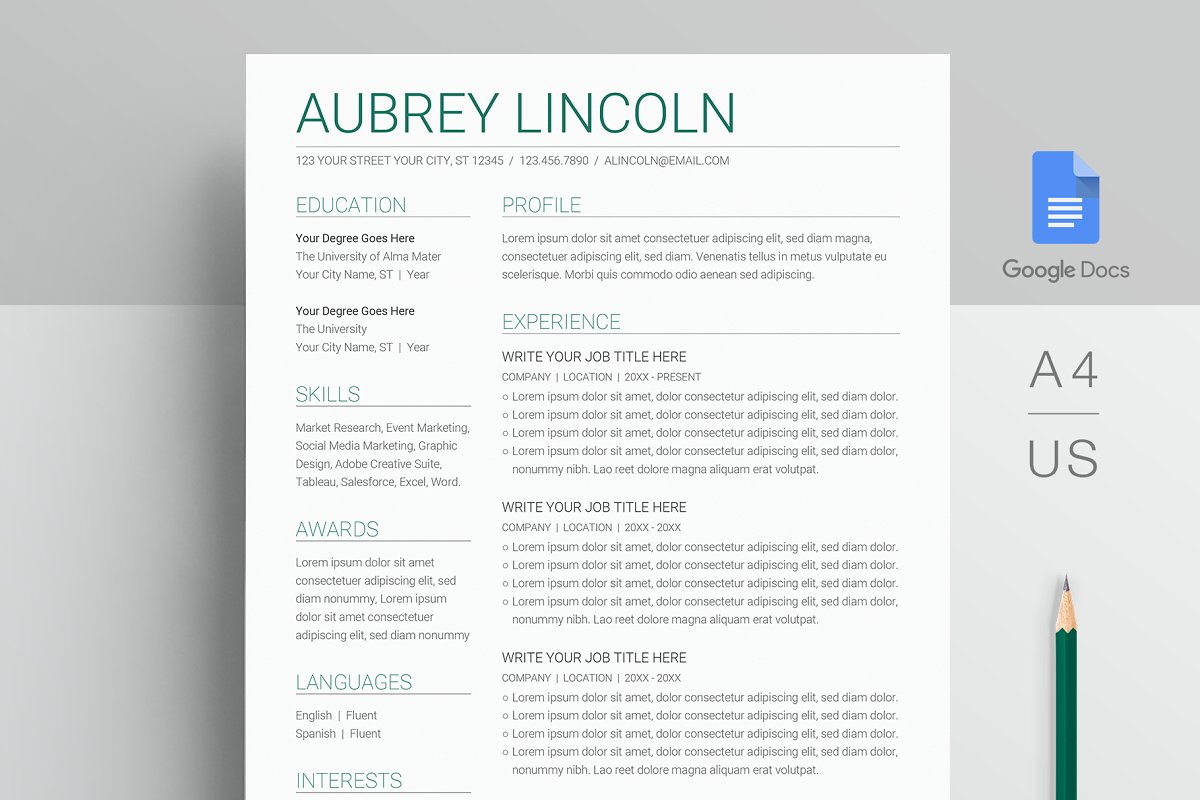 Google Docs Resume Template in Resume Templates - product preview 8