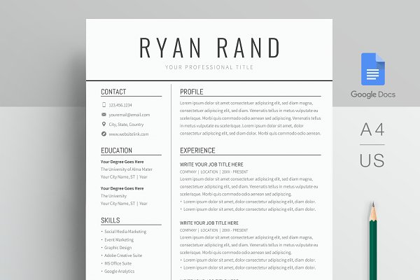 Google Docs Resume Template Creative Resume Templates Creative Market