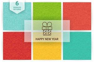 New Year Line Seamless Patterns