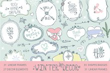 Winter decor kit.Doodle shapes