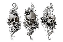 Skulls with Floral Patterns