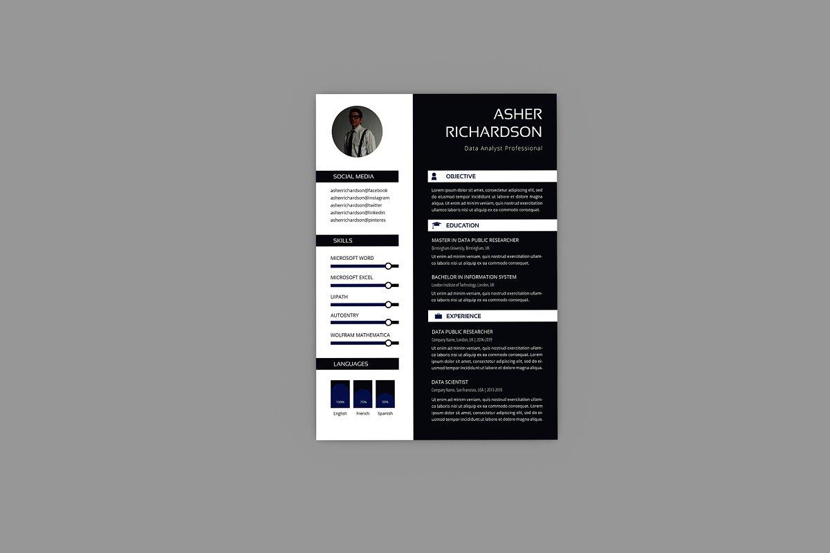 Asher Data Analyst Resume Designer