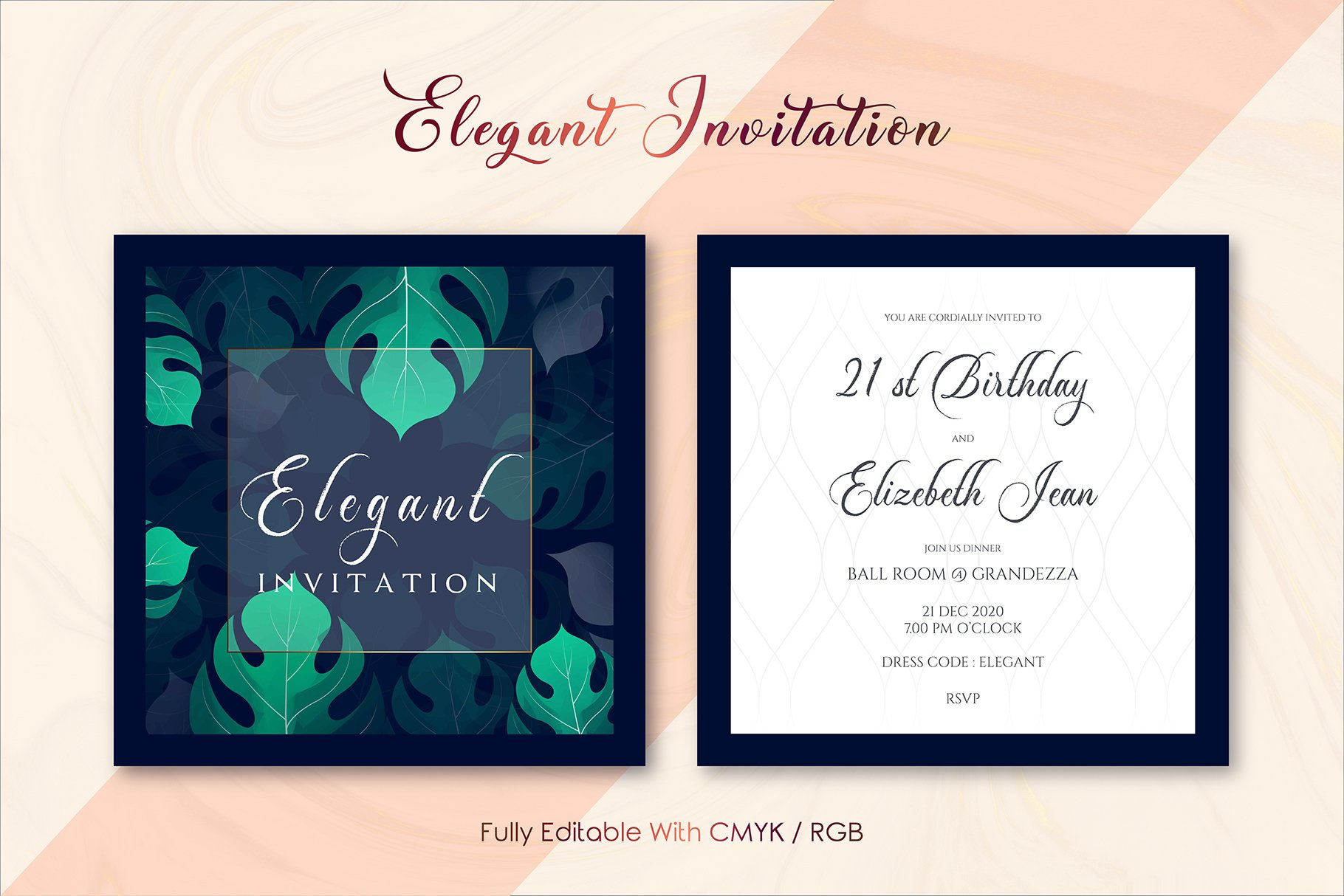 Elegant Invitation Template Ver : N | Creative Illustrator Templates ~  Creative Market