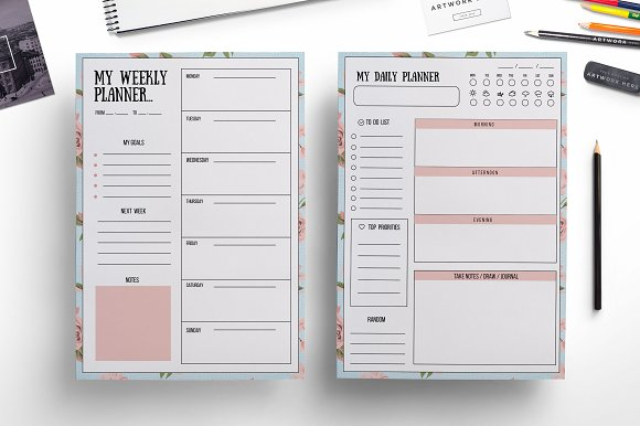 Weekly Planner Daily Templates Creative Market