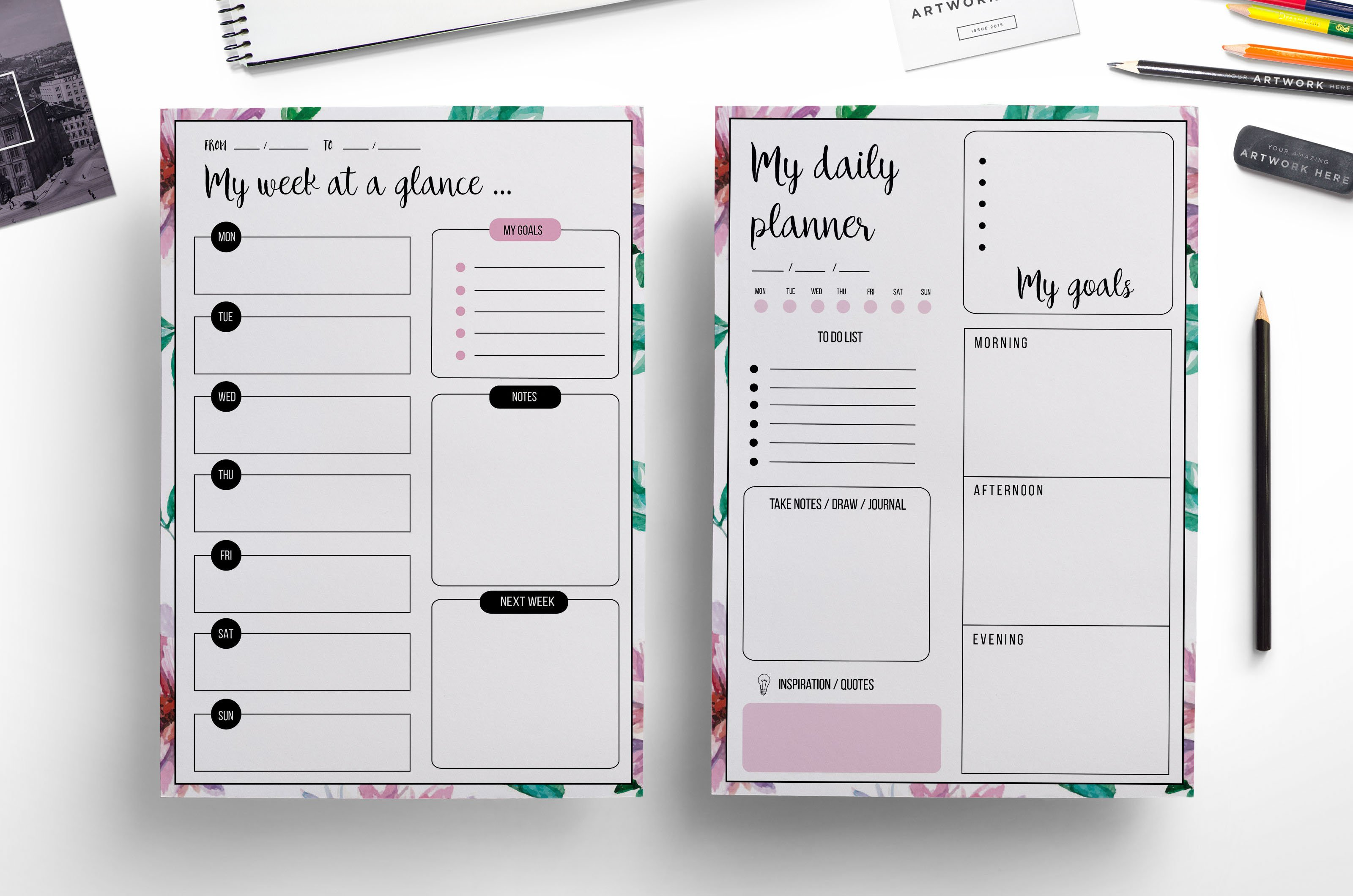 My Calendar Planner : Weekly planner daily stationery templates