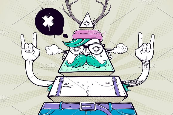 Triangle Hipster Character