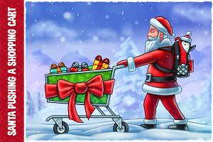 Santa Claus Pushing a Shopping Cart