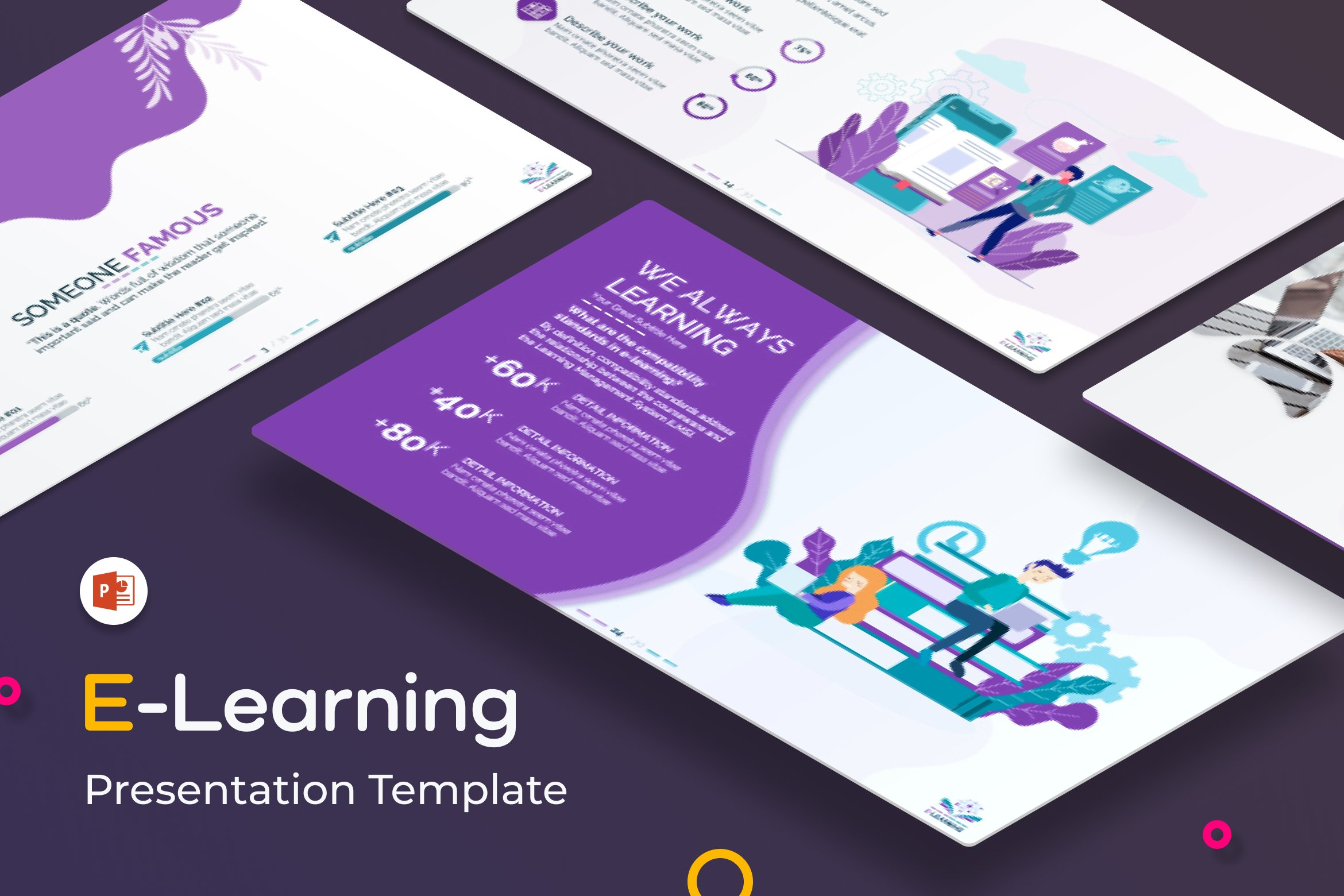 E Learning Ppt Presentation Template Creative Powerpoint Templates Creative Market