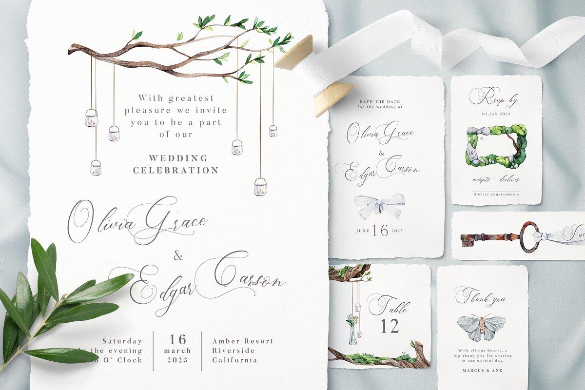 White Forest Wedding Invitations