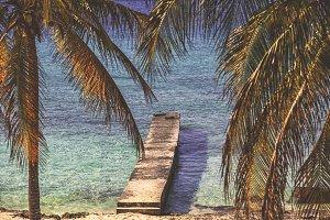 Pier on  tropical beach
