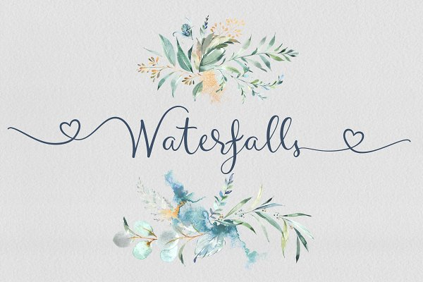 Waterfalls love font swash font