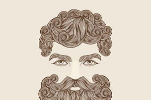 Hand Drawn Mustache Beard