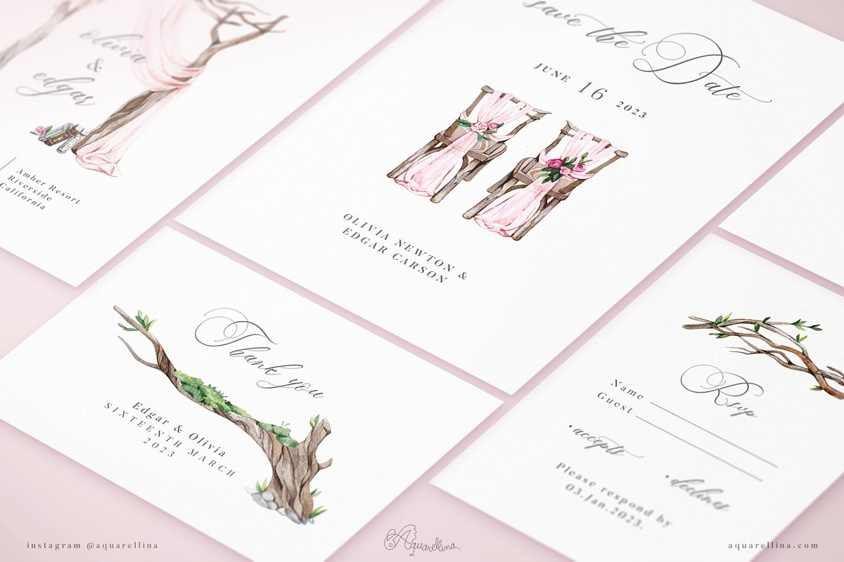Pink Forest Wedding Invitations