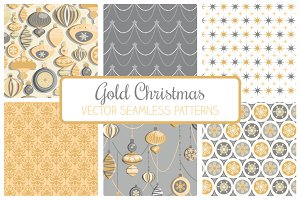Gold Christmas Seamless Patterns