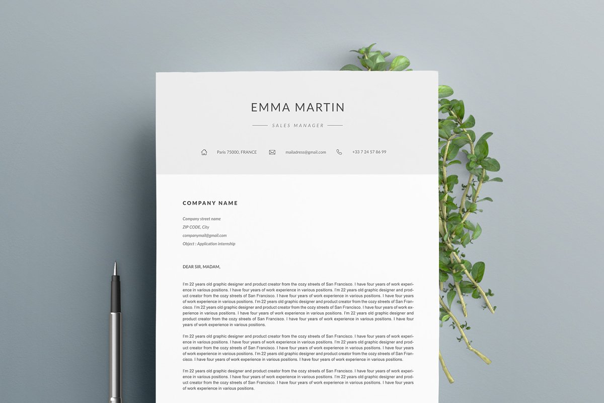 "Resume Template ""EMMA"" A4"