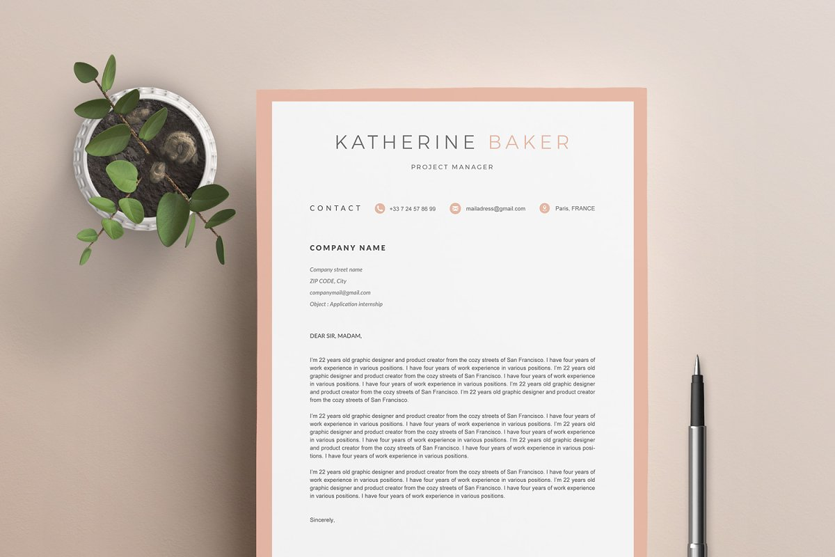 "Resume Template ""KATHERINE"" A4"