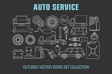 Outline set auto service icons