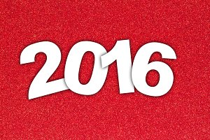 2016 on Red Texture Background