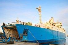 Ferry boat in Kerch seaport, Crimea