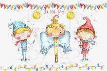 Watercolor christmas decorations set