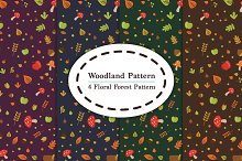 4 Woodland Floral Forest Pattern