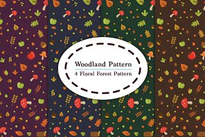 4 Woodland Floral Forest Pattern