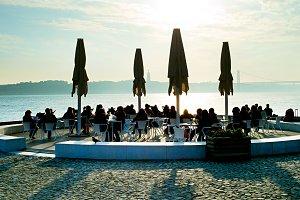 Restaurant on embankment of Lisbon