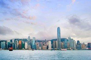 Wide angle panorama of Hong Kong