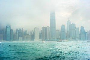 Skyline of Hong Kong in the fog