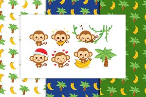 Monkey Clipart and Banana Pattern