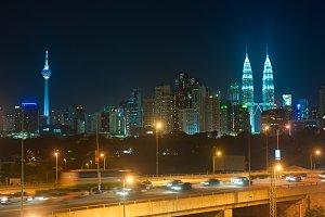 NIght traffic in Kuala Lumpur