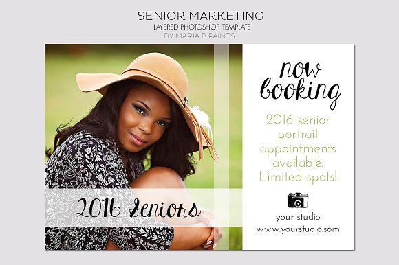 senior photography postcard template flyer templates on creative market. Black Bedroom Furniture Sets. Home Design Ideas