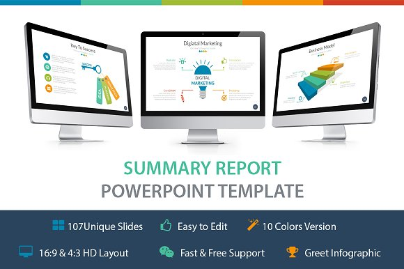summary report powerpoint template presentation templates