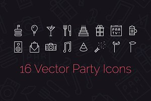 16 Party Icons + Seamless Pattern