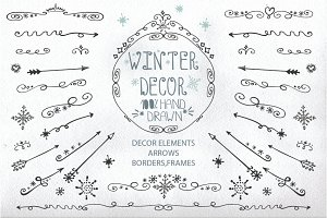 Doodle border,arrows,winter decor 1