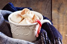 Hot chocolate and winter scarf
