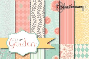 In My Garden, Floral Digital Paper