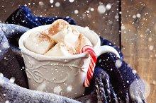 Hot chocolate, winter scarf, snow