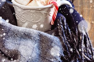 Hot chocolate, winter scarf, snow