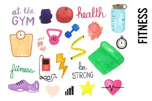 Health Fitness Watercolor Clipart
