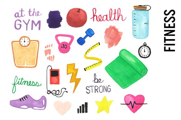 health fitness watercolor clipart illustrations creative market