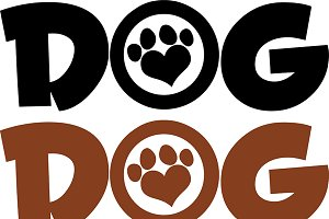 Dog Text With Love Paw Collection