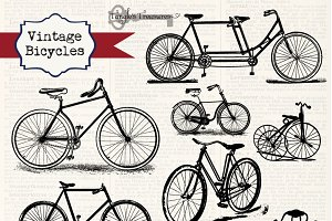 Vintage Bicycles Clipart