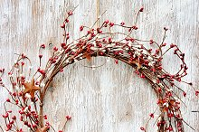 Christmas wreath with winter berries